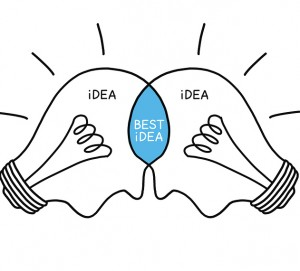 Best Idea light bulbs concept hand drawn with black marker on white. Teamwork makes the best ideas.